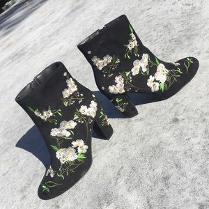 Forever 21 Black Floral Ankle Booties